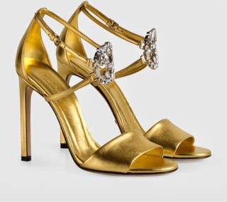 GUCCI GOLD SANDALS HEEL