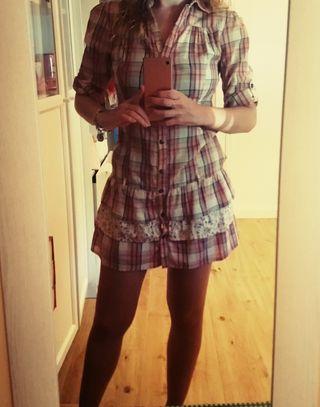 Vestido cuadros Bershka