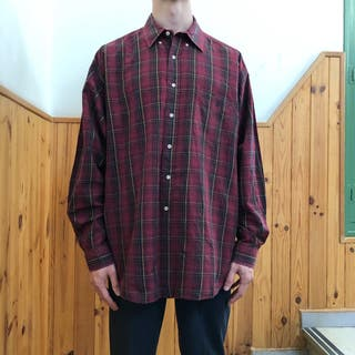 VINTAGE POLO RALPH LAUREN PLAID SHIRT DARK RED