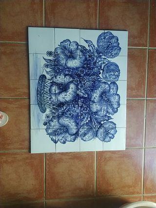 Mosaico de azulejos cerámica pintado a mano