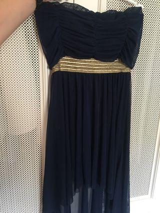 Vestido estilo griego azul marino y dorado
