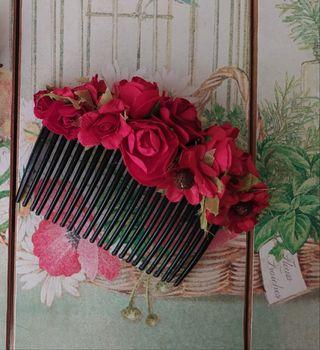 peineta tocado flores rojas fallera huertana nuevo