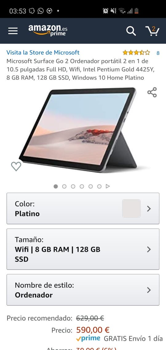 Surface Go 8/128 SSD PRECINTADO