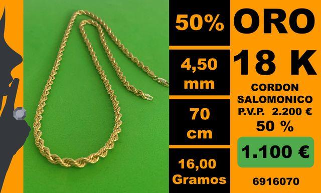 18K Cordon Salomonico 4,50 mm 70 cm Oro 18 Kilates