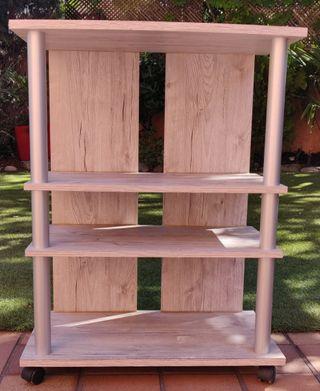Mueble para TV y multimedia con ruedas, 3 estantes