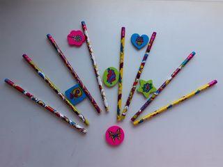 Lápices y gomas de borrar