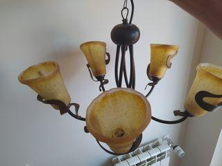 Lámpara de techo de forja y cristal