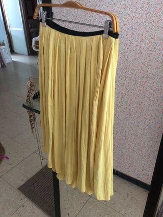 Falda midi zara amarilla
