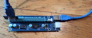 Adaptador riser gráficas PCI-E 1X a PCI-E 16X 50cm