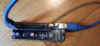 Adaptador riser gráficas PCI-E 1X a PCI-E 16X 40cm