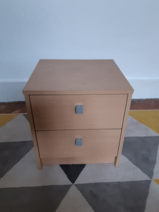 bedside table and ikea bookcase