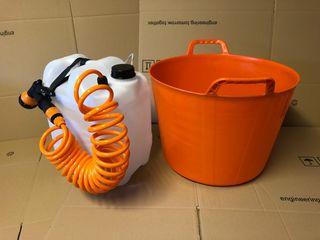 Soporte alcachofa ducha camper 20L naranja