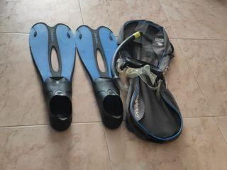 Aletas y gafas de Snorkel 35/36