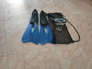 Aletas y gafas de Snorkel 37/38