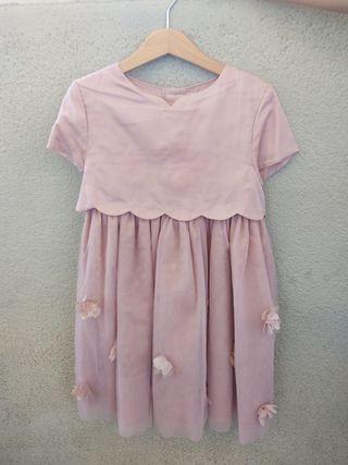 Vestido niña tul y seda, talla 8 -9