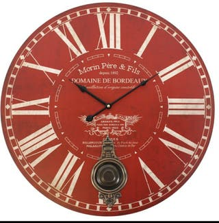 Red Morin Pere&Fils Wall Clock With Pendulum