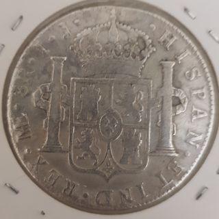 Moneda Plata 8 Reales Carlos IV 1800 Ceca Lima