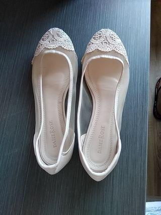 Manoletinas - bailarinas n 38 boda, casi nuevas