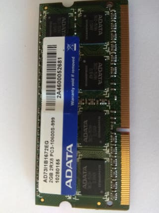 Memoria RAM ADATA. 2 GB DDR3 PC3 1600 Mhz(portáti)