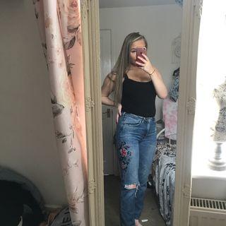 denim flower patterned jeans