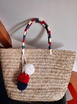 bolso de paja marinero