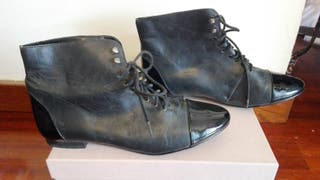 Botines vintage retro piel y charol t. 37 negros