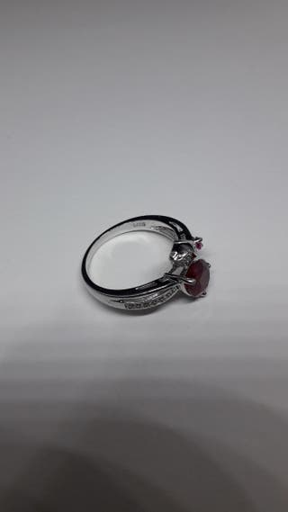 Flower Rose 2.5ct Created Red Ruby Love ring