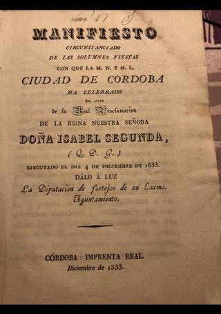 Libro antiguo de Isabel II