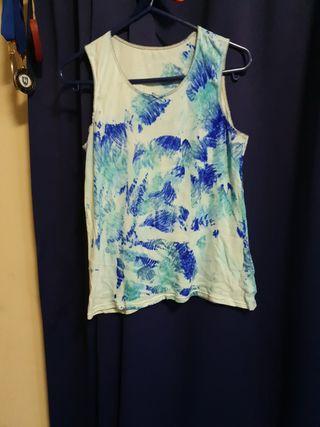 Custom Blue Tie-Dye Cotton Crop Top
