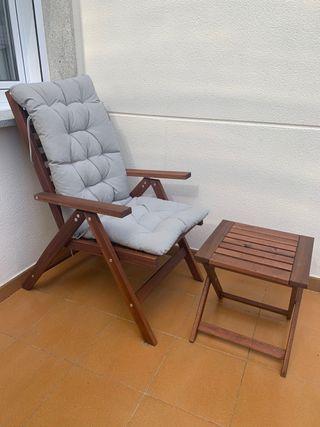 Silla reclinable madera de Acacia