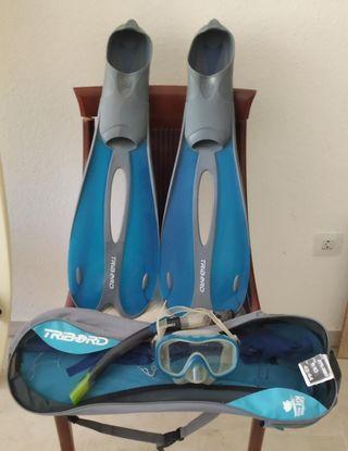 aletas gafas y snorkel