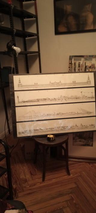 Panel con dibujos a pluma de Sevilla
