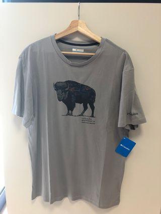 Columbia camiseta algodón gris hombre