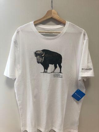 Columbia camiseta algodón blanca T/ L hombre