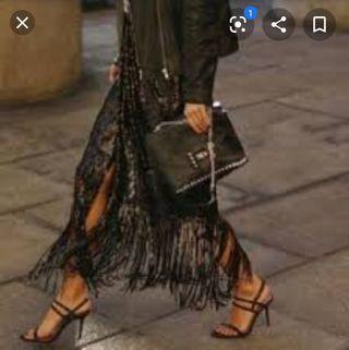Falda lentejuelas y flecos - Zara