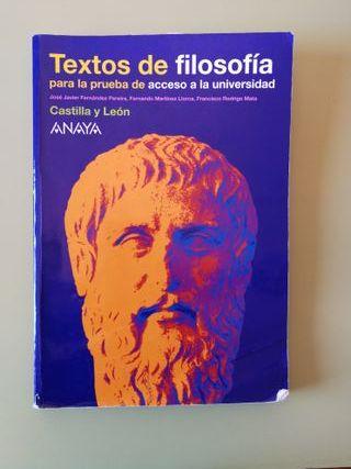 Libro Textos de Filosofía ANAYA - EvAU / PAU