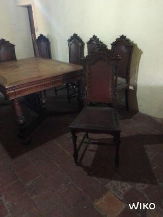 cadires rústiques, sillas rusticas y mesa