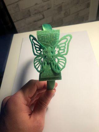 Handmade Green Glitter Butterfly Bow Headband