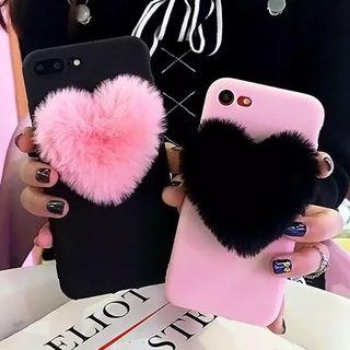 Funda móvil carcasa silicona rosa corazón