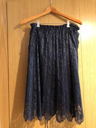 Falda midi azul encaje Zara talla 36-38