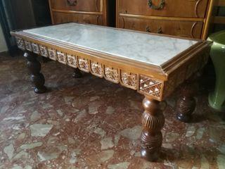 Mesa de centro de madera y mármol / mesa auxiliar