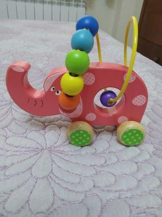 Juguete elefante de madera ábaco. Perfecto estado