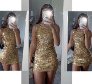 gold racer back dress