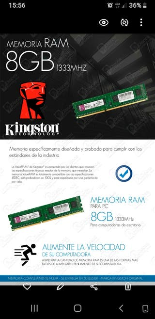 RAM 8GB KINGSTON DDR3 1333MHZ