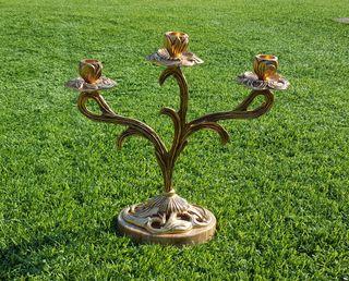 Candelabro de bronce con pie de mármol