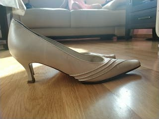 Zapato novia blanco roto talla 37, tacón 6 cm