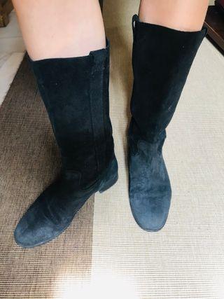 Botas de cuero 100% negras