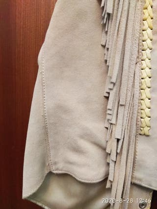 Chaleco Stars & Stripes ante piel flecos talla L