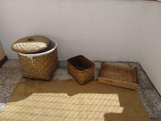 lote de tres cestos de fibra vegetal