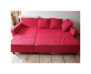 Sofá Cama IKEA Chaise Longue rojo, 3 plazas